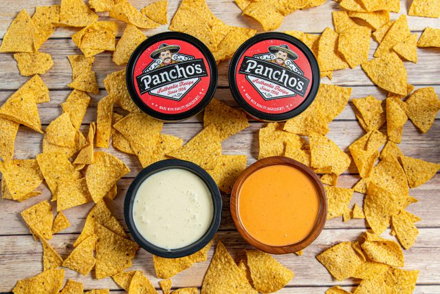 Queso dip on top of chips